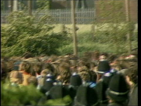 may in 1984 the miners' strike turned into riots at orgreave south yorkshire orgreave police officers clashing with striking miners at picket line /... - 1984 stock-videos und b-roll-filmmaterial