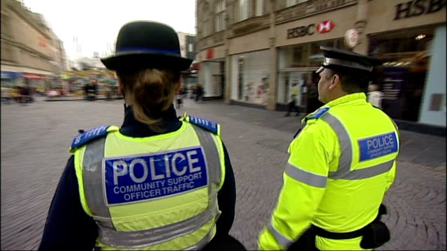 south yorkshire police criticised over pcso plan england south yorkshire ext close shot of police community support officer's name badge on shoulder... - south yorkshire stock videos and b-roll footage