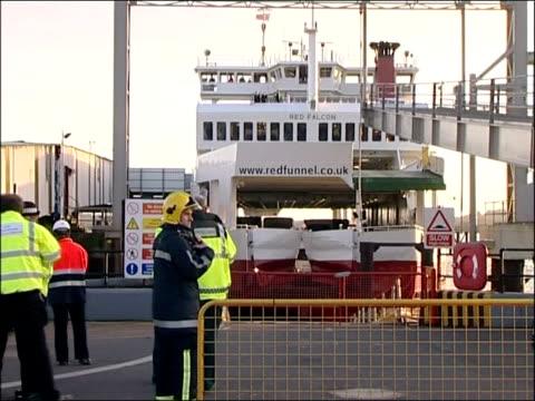 vídeos y material grabado en eventos de stock de southampton ferry collision; england: hampshire: southampton: ext redfunnel ferry docked at port red funnel ferry in port, with damaged bows... - hampshire