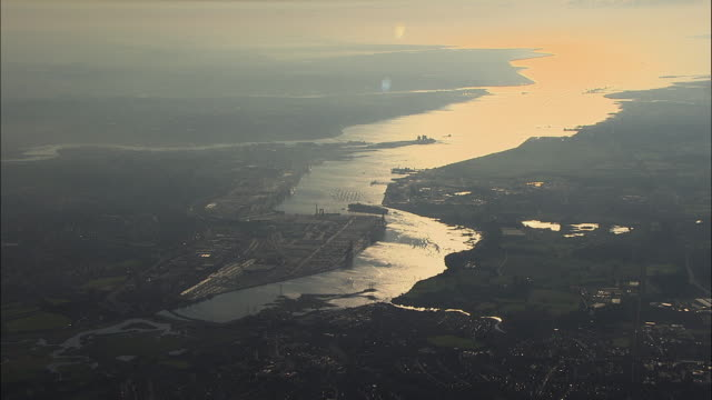 AERIAL Southampton port at sunset / Hampshire, United Kingdom