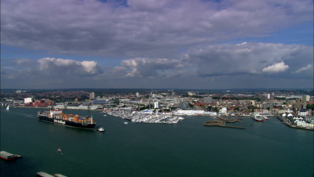southampton water  - aerial view - england, southampton, united kingdom - hampshire england stock videos and b-roll footage