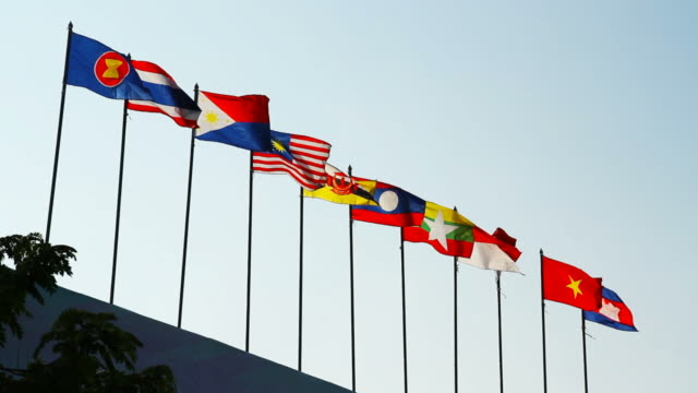 southeast asia national flags in chiang mai province thailand - brunei stock videos & royalty-free footage