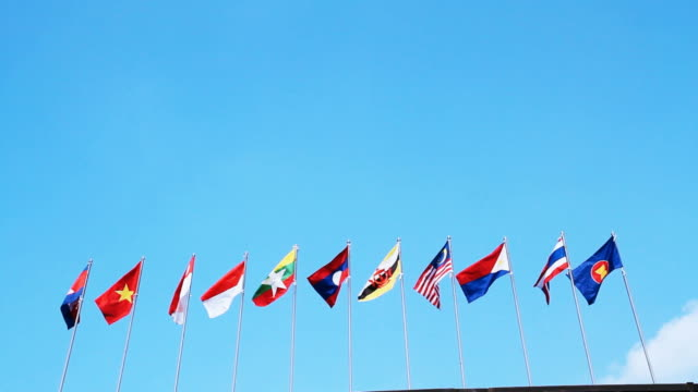 Southeast Asia national flags in Chiang Mai Province Thailand