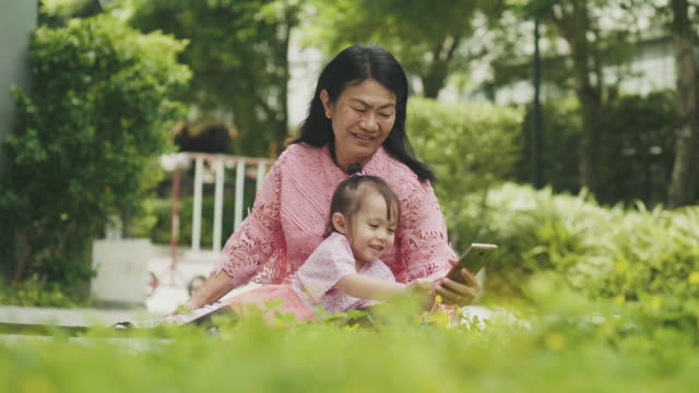 southeast asian family consist of grandmother and her niece are using smart phone for relaxation at the garden - 50 59 years stock videos & royalty-free footage