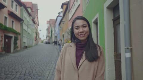 southeast asian woman having close-up portrait in switzerland - video portrait stock videos & royalty-free footage