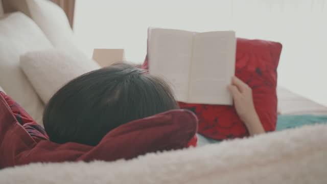 vidéos et rushes de femme d'asie du sud-est affichant un livre dans son appartement - couverture de livre