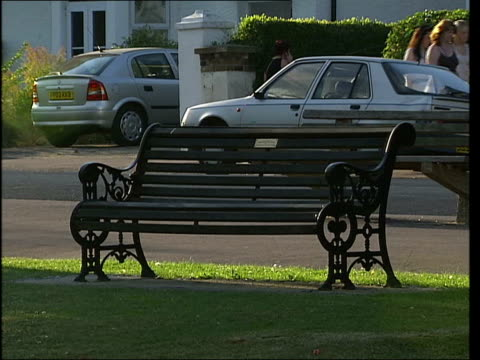 southendonsea park / general views of park grounds park bench as passersby along past / park flowerbed with pink flowers and shubs / more of park... - sitzbank stock-videos und b-roll-filmmaterial