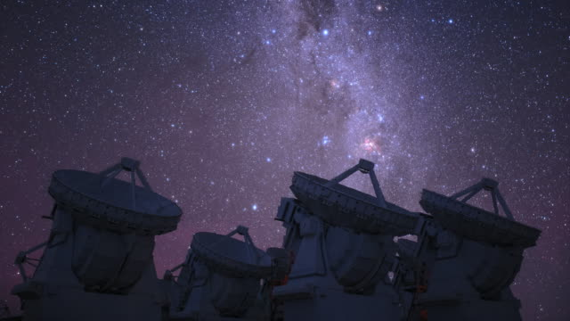 southern cross above alma telescopes - observatory stock videos & royalty-free footage