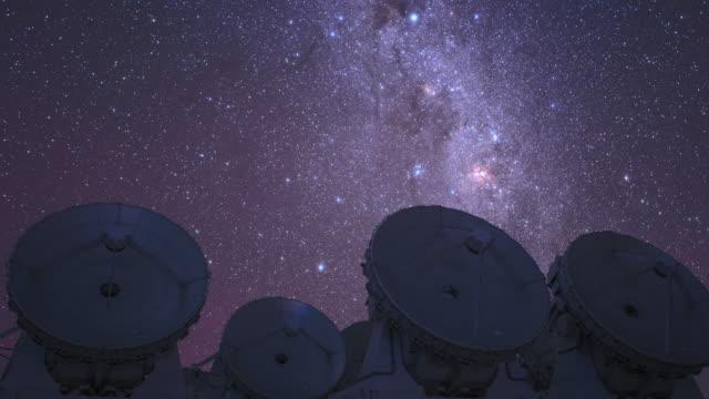 southern cross above alma telescopes (tilt-up) - san pedro de atacama stock videos & royalty-free footage