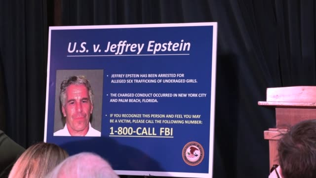 southern district of new york press conference with charges against jeffrey epstein of sex trafficking between the years of 2002 and 2005 with... - trafficking stock videos & royalty-free footage