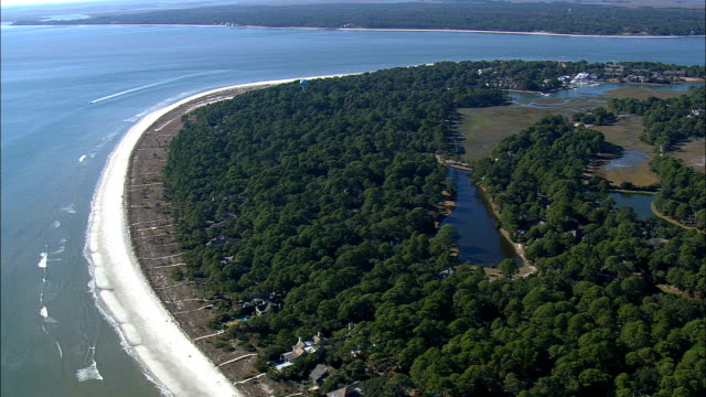 southern end of hilton island  - aerial view - south carolina,  jasper county,  united states - south carolina stock videos & royalty-free footage