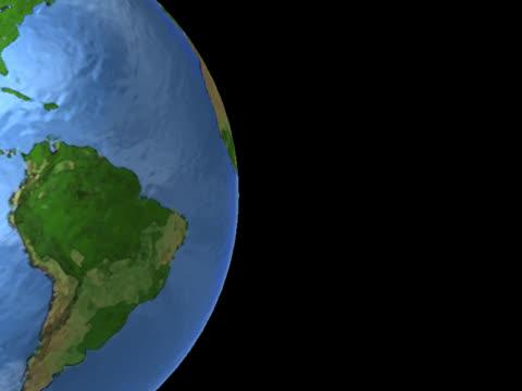 southern hemisphere on luminous globe, spinning on left - southern hemisphere stock videos & royalty-free footage