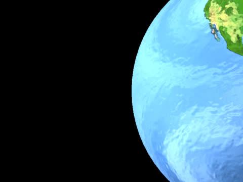 southern hemisphere on luminous globe, spinning on right - southern hemisphere stock videos & royalty-free footage