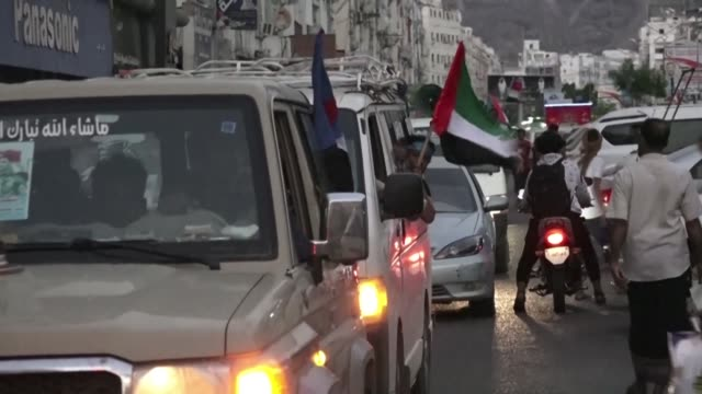 southern yemenis arrive to yemen's interim capital of aden to take part in thursday's demonstration in support of the uae - thursday stock videos and b-roll footage