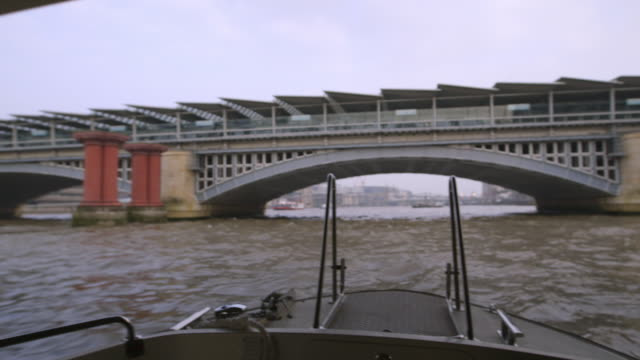 ws pov southwark bridge and river thames / london, england, united kingdom - boat point of view stock videos and b-roll footage