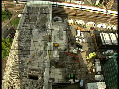London Southwark Elephant Castle EXT High angle shots showing collapsed wall on building demolition site