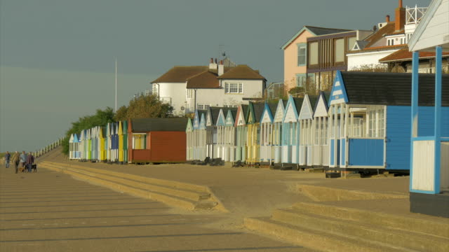 southwold,colourful beach hut,man walking dog,ws - promenade stock videos & royalty-free footage