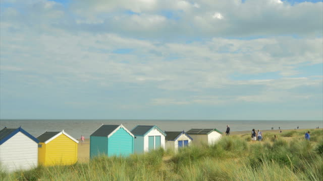Southwold,colourful beach huts,people walking in dunes,PAN