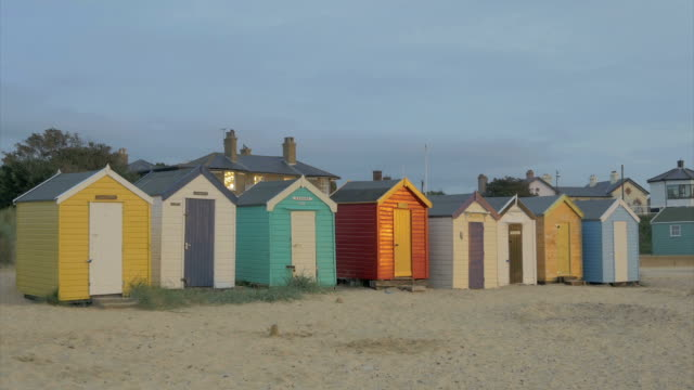 southwold,row of beach huts,early morning,ms, - beach house stock videos & royalty-free footage