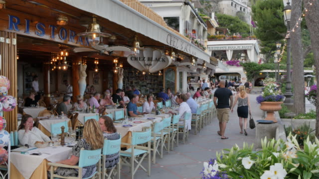 Souvenir shops and restaurants, Costiera Amalfitana (Amalfi Coast), UNESCO World Heritage Site, Province of Salerno, Campania, Italy, Europe