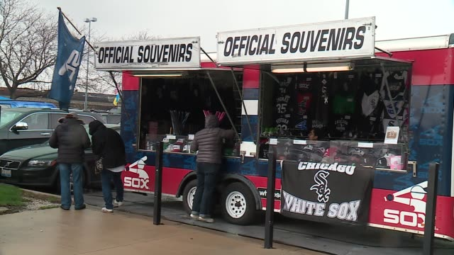 WGN Souvenirs For Sale Outside of US Cellular Field on the White Sox's Home Opening Day on April 8 2016