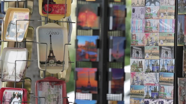 souvenirs on avenue des champs elysees, paris, france, europe - postcard stock videos and b-roll footage