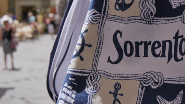 souvenirs on busy street, sorrento, costiera amalfitana (amalfi coast), unesco world heritage site, campania, italy, europe - italy stock videos & royalty-free footage