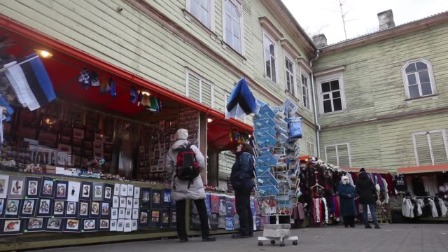 Souviner shops set up / tourist shopping Estonia Tourists on November 14 2011 in Tallinn Estonia