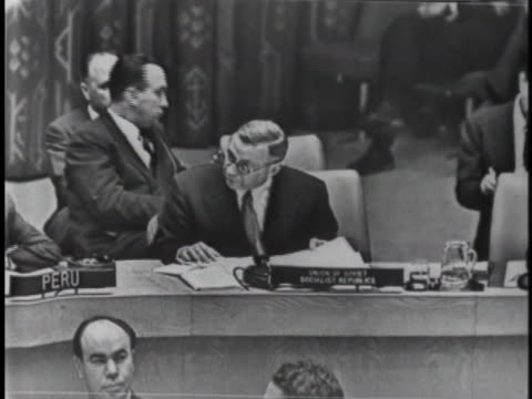 soviet ambassador to the united nations arkady sobolev speaks of the presence of the united kingdom and france in egypt during a united nations... - canal do suez stock videos & royalty-free footage