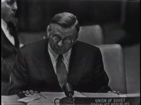 soviet ambassador to the united nations arkady sobolev speaks of the western powers diverting attention from attacks on egypt by england and france... - 1956 stock videos & royalty-free footage