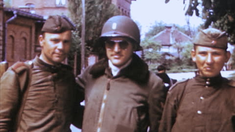 soviet army soldiers posing for pictures with u.s. army soldiers and shaking hands / weimar, germany - weimar stock videos & royalty-free footage