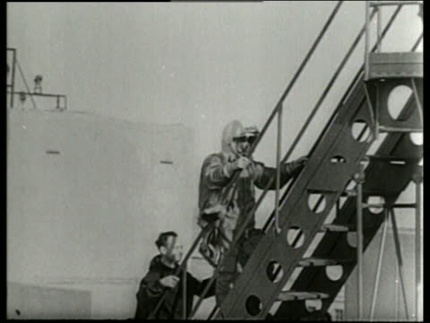 soviet cosmonaut climbing stairs to spacecraft / aleksei leonov-1st man to walk in space / - 1965 stock videos & royalty-free footage
