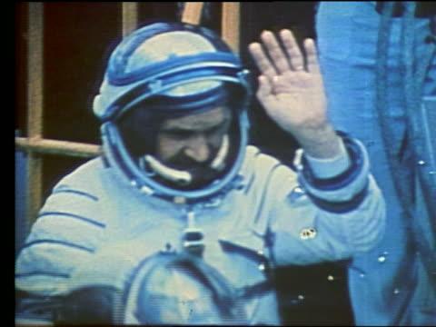 Soviet cosmonauts waving