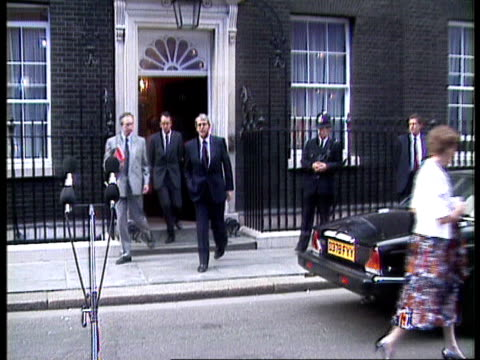 international political reax anat england london downing st no 10 douglas hurd mp along towards pan lr to bv away declining to comment ms hurd along... - john major stock videos & royalty-free footage
