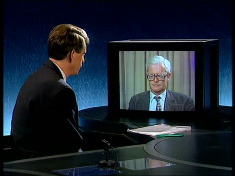 international political reax dc4n england london 2 way itn douglas hurd mp intvwd sof if we'd given more economic assistance it would now simply be... - coup d'état stock videos & royalty-free footage