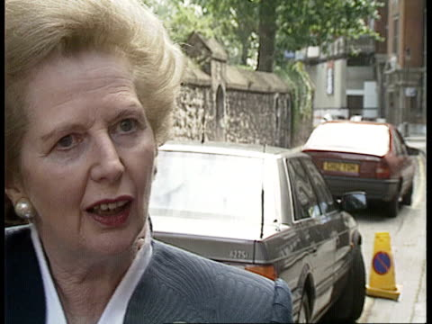 international political reax england london chester sq sw1 cms margaret thatcher mp speaking press sof what soviet people should do should get out... - chester england stock videos and b-roll footage