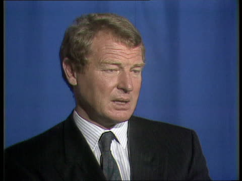 international political reax england london itn paddy ashdown mp intvwd sof this is moment of gravest concern / world peace is threatened not a time... - paddy ashdown stock-videos und b-roll-filmmaterial