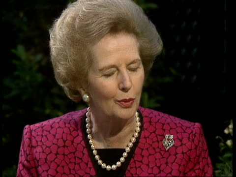 margaret thatcher reax england london chester sq sw1 margaret thatcher mp intvwd sof didn't think gorbachev would go in this way / he may still have... - coup d'état stock videos & royalty-free footage