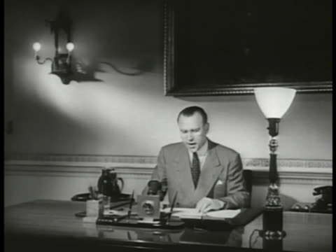 ussr malik speaks soviet delegate to the united nations yakov malik sitting at desk sot reading statement saying discussions should be started for a... - waffenstillstand krieg stock-videos und b-roll-filmmaterial