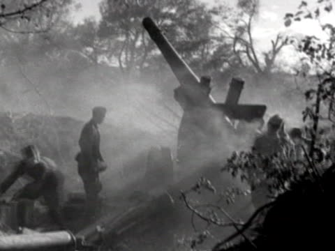 soviet field artillery firing at enemy during battle of kursk on the eastern front of wwii - 1943 stock videos & royalty-free footage