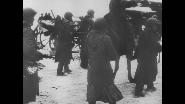 soviet forces' offensive of german positions/ soviet troops liberating russian towns of volokolamsk, yepifan, tarussa, yasnaya-polyana, venev,... - 1942 stock videos & royalty-free footage