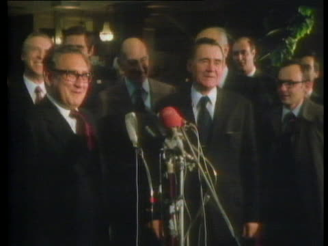 soviet foreign minister andrei gromyko and us secretary of state henry kissinger give a press conference in geneva - (war or terrorism or election or government or illness or news event or speech or politics or politician or conflict or military or extreme weather or business or economy) and not usa stock-videos und b-roll-filmmaterial