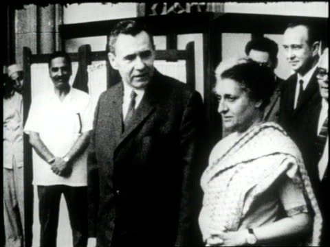 soviet foreign minister andrei gromyko stands beside indian prime minister indira gandhi in new delhi india - indira gandhi stock videos & royalty-free footage