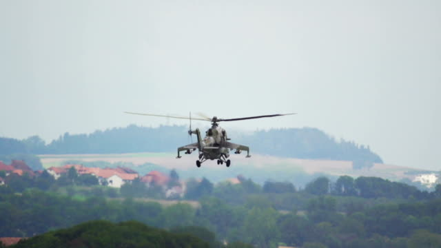 soviet helicopter mi-24 hind slow motion capture - military stock videos & royalty-free footage
