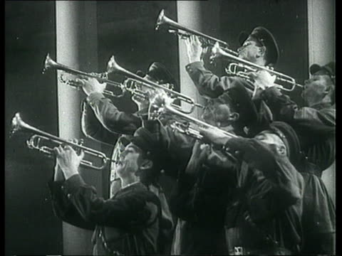 Soviet Military Brass Band Playing Trumplets