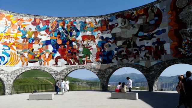 soviet monument to russo-georgian friendship - mosaic stock videos & royalty-free footage