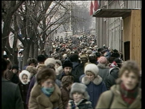 soviet party congress; cms hand holding draft of communist party programme and 5-year guidelines tms crowds along pavement tcms ditto michael brunson... - former soviet union stock videos & royalty-free footage