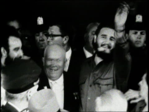 soviet premier nikita khrushchev and cuban leader fidel castro smile together at a meeting - fidel castro stock videos and b-roll footage