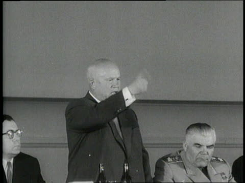 Soviet Premier Nikita Khrushchev delivers an angry speech directed at the United States Britain and France after a US spy plane was shot down over...