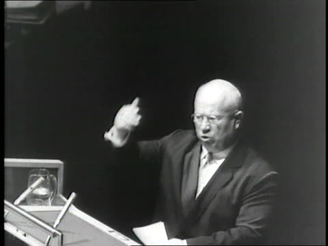 soviet premier nikita khrushchev makes a speech during a united nations meeting - united nations stock videos & royalty-free footage